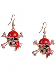Piraten-Ohrringe Totenkopf 2 Stück silber-rot
