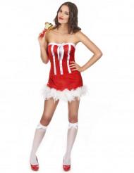 Sexy Weihnachtsfrau Damenkostüm rot-weiss