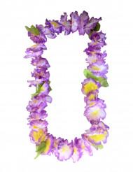 Hawaii-Kette Blumen-Halskette lila-gelb-grün