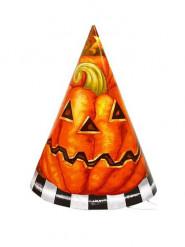 Kürbis Partyhütchen Halloween Kinderparty 6 Stück schwarz-weiss-orange