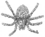 Deko Spinnen Glitzerspinnen 6 Stück silber 6,5cm