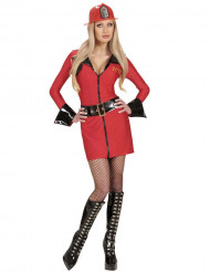 Feuerwehrfrau Damenkostüm rot-schwarz