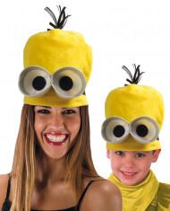 Lustiger Untergebener Mütze mit Augen und Haaren gelb-weiss-schwarz
