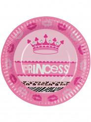 Prinzessin Pappteller Party-Deko 6 Stück pink-rosa 23cm