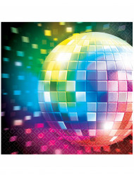 70er Disco Servietten Discokugel Party-Deko 16 Stück bunt 33cm