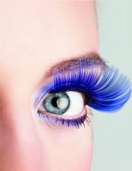 Lange Kunstwimpern Kostümaccessoire blau
