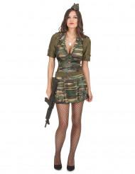 Sexy Soldatin Damenkostüm Militär braun-grün