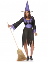 Elegante Spinnen-Hexe Damenkostüm schwarz-lila