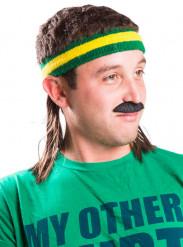 Stirnband mit Vokuhila Kostüm-Accessoire von Mullet on the Go™ grün-gelb-braun