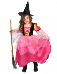 Kleine Zauberin Halloween-Kinderkostüm Hexe rosa-gelb-schwarz