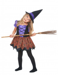 Kleine Spinnen-Zauberin Halloween-Kinderkostüm Hexe bunt
