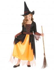 Anmutige Hexe Halloweenkostüm für Mädchen braun-gelb