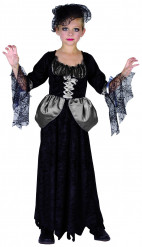 Schwarze Witwe Hexen-Kinderkostüm schwarz-grau