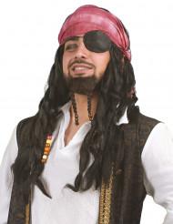 Piraten-Damenperücke mit Zöpfen, Tuch und Perlen schwarz