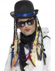 80er Jahre Sänger Hut mit Zöpfen bunt