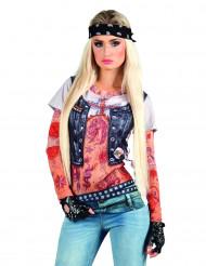 Damen T-Shirt Bikerin fotorealistisch Schnellkostümierung bunt