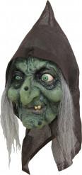3/4 Hexenmaske Kapuzen Maske grün-schwarz-grau