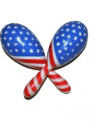 Rasseln USA Motiv Fanartikel rot-weiss-blau