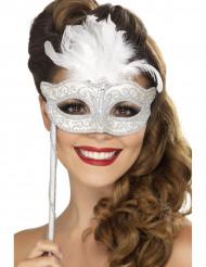 Weiße Augenmaske mit Feder