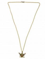 Totenkopf Halskette Pirat mit Säbeln gold
