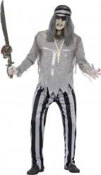 Zombie-Pirat Matrose Halloween-Kostüm schwarz-grau
