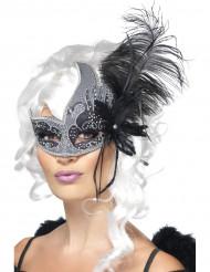 Venezianische Augenmaske Dunkler Engel grau-schwarz