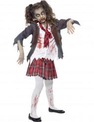 Zombie Schulmädchen Halloween Kinderkostüm grau-weiss
