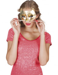 Elegante Katzen Halbmaske gold