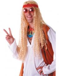 Hippie Perücke gelockt mit Stirnband blond