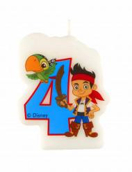 Geburtstagskerze 4 Jake und die Nimmerland Piraten Lizenzartikel bunt