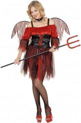 Barock-Teufelin Damen-Kostüm rot-schwarz