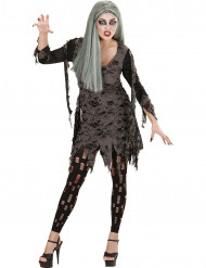 Fetzen-Zombie Halloween Damenkostüm grün-schwarz