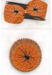 Halloween-Cupcakeförmchen  mit Toppern Spinnen Cupcake-Form 24 Stück schwarz-orange-weiss 8cm