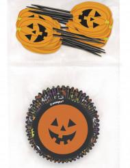Halloween-Tischdeko Kürbisdeko-Set Kuchenschalen und Dekospiesse 48-teilig schwarz-orange