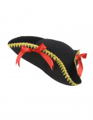Piraten-Hut mit Schleife für Damen schwarz-rot-gold