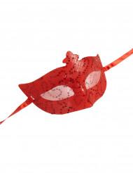 Venezianische Augenmaske Pailetten rot