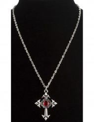 Vampirin Kreuzkette Gothic silber-rot