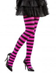 Gestreifte Ringel-Strumpfhose schwarz-pink