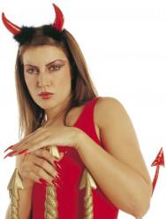 Teufelshörner-Haarreif mit Plüsch rot-schwarz