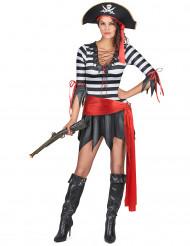 Sexy Piratin Damenkostüm Seeräuberin schwarz-weiss-rot