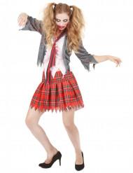 zombie schulerin halloween damenkostum uniform grau weiss rot