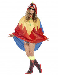 Party Poncho Papagei rot-gelb-blau