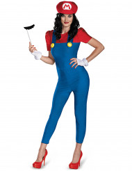 Mario Deluxe Damenkostüm Super Mario Videospiel rot-blau