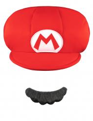 Mario Kinder-Set Mütze und Bart Super Mario Videospiel weiss-rot-schwarz