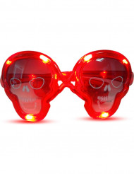 Totenkopf Halloween-Brille mit LEDs rot