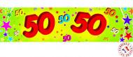 Papier Geburtstagsbanner -50 Jahre bunt 2,44 x 16 cm