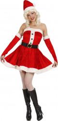 Damenkostüm Weihnachtsfrau Miss Santa rot-weiss-schwarz