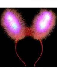 LED-Hasenohren Erwachsene rosa-rot