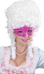 Venezianische Augenmaske mit Glitzer und Strass pink