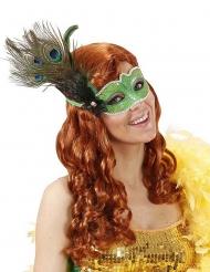 Venezianische Maske mit Pfaufeder grün